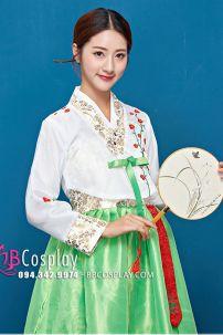 Hanbok 2 Lớp Voan Thêu Áo Trắng Váy Xanh Lá