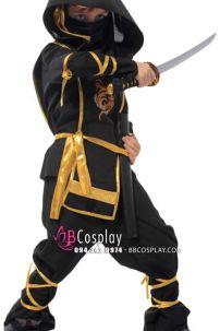 Trang Phục Hóa Trang Ninja Đen In Rồng Cho Bé