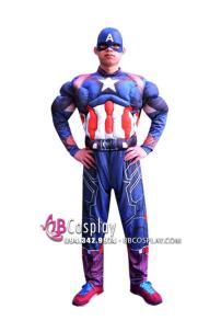 Bộ Trang Phục Captain America Độn Cơ Bắp In 3D
