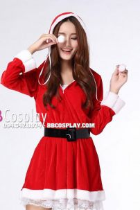 Trang Phục Noel Đẹp Có Nón Váy Viền Ren