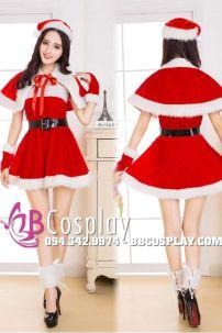 Đầm Xòe Noel Nữ Cúp Ngực Có Choàng