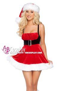 Đầm Noel Cúp Ngực Phối Thắt Lưng Đen