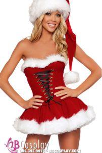 Đầm Giáng Sinh Cúp Ngực Feli-La Vida Lông Dầy