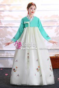 Hanbok Voan Áo Xanh Lục Váy Trắng