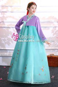 Hanbok Voan Áo Tím Váy Xanh Lục