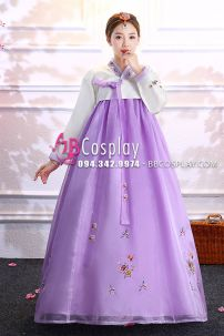Hanbok Voan Chiết Ngực Áo Trắng Váy Tím