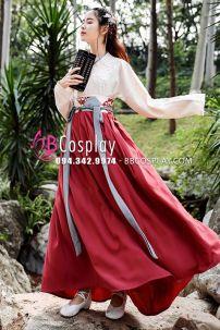 Hán Phục Chiết Eo Áo Kem Váy Đỏ