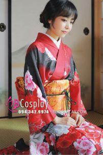 Trang Phục Kimono Chuẩn Nhật Hoa Đào Đỏ Phối Đen