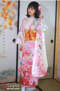Trang Phục Nhật Bản Kimono Hoa Đào Nền Hồng