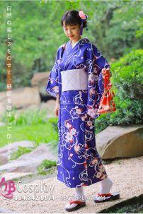 Trang Phục Nhật Bản Yukata Hoa Trắng Nền Xanh