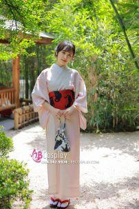 Yukata Hồng Pastel Obi Mèo Đen