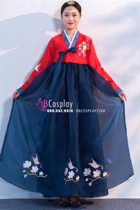 Hanbok Hàn Quốc Áo Đỏ Váy Xanh