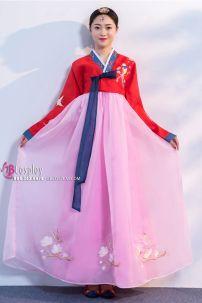Hanbok Hàn Quốc Áo Đỏ Váy Hồng