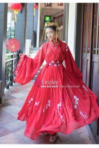 Hán Phục Đỏ Thêu Hoa Váy Rộng 6m