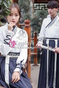 Cặp Hán Phục Áo Trắng Váy Xanh