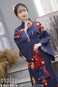 Yukata Kimono Mùa Hè Xanh Đậm