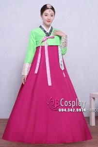 Hanbok Áo Xanh Chói Váy Hồng Có Tuarua