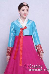 Hanbok Áo Xanh Ngọc Váy Hồng