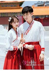 Cặp Hán Phục Căp Đôi Trắng Đỏ