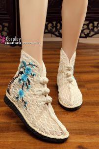 Giày Thêu Hán Phục Màu Kem