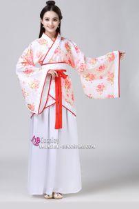 Hán Phục Cổ Trang Trung Quốc Nhà Tần Áo Hoa Váy Trắng Viền Đỏ