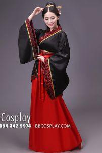 Hán Phục Cổ Trang Áo Đen Váy Đỏ