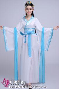 Cổ Trang Trung Quốc Áo Trắng Viền Xanh (vải Voan)