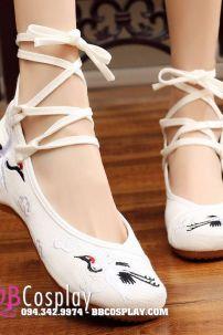Giày Thêu Hán Phục Thêu Sếu Tầm Đỏ