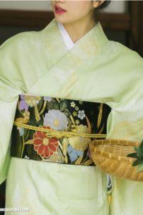 Obi Kimono - Thắt Lưng Cho Kimono Nhật Bản Vàng Kim Nền Đen