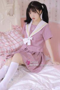 Bộ Seifuku Nữ Sinh Nhật Bản Áo Hồng Cổ Trắng