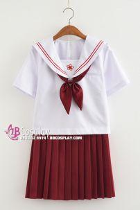 Seifuku Nhật Nữ Sinh Áo Trắng Váy Đỏ Đỏ