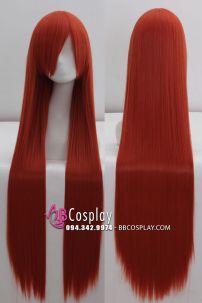 Tóc Giả Đỏ Cam Đỏ 100cm