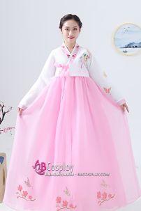 Hanbok Hàn Quốc Áo Trắng Váy Hồng Phấn