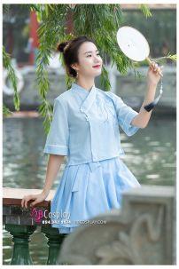 Hán Phục Cách Tân Tiểu Ái Áo Xanh Váy Xanh
