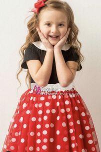 Đồ Minnie Trẻ Em Hàng May Vải Đẹp (Chấm Bi Nhỏ Có Hình Thật)