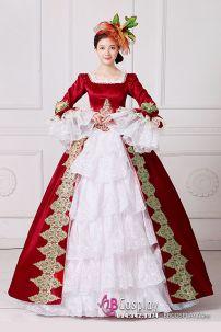 Đầm Nữ Hoàng Đỏ Phối Ren Trắng