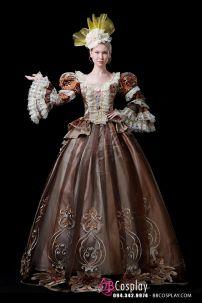 Đầm Nữ Hoàng Châu Âu Vải Thêu