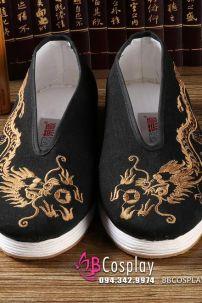 Giày Cổ Trang Nam Đen Thêu Rồng Size 41