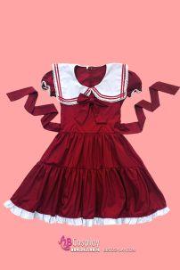 Đầm Lolita Đỏ Đô Hàng May Vải Đẹp