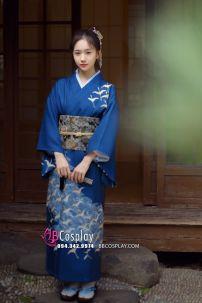 Yukata Chuẩn Nhật Xanh (Kimono Mùa Hè Rực Rỡ)