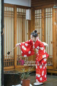 Yukata Đỏ Chuẩn Nhật Hoa Đào (Kimono Mùa Hè Rực Rỡ)