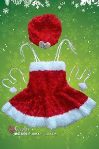Đầm Noel Cho Bé Gái Kèm Nón Cho Bé Từ 80cm Tới 120cm