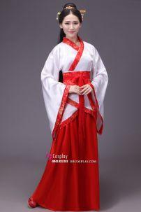 Cổ Trang Nhà Tần Áo Trắng Viền Đỏ Váy Đỏ