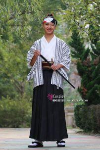 Kimono Nam Áo Trắng Sọc - Hakama Đen