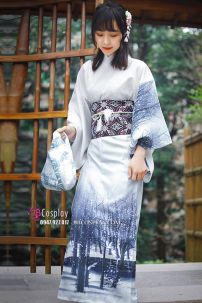 Yukata Yukiona Nền Áo Xanh Trắng