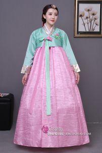 Hanbok Áo Xanh Váy Hồng Mẫu Mới