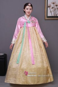 Hanbok Áo Hồng Váy Vàng Mẫu Mới
