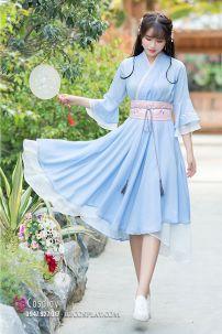 Váy Hán Phục Cách Tân Thắt Lưng Hồng