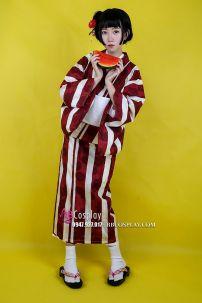 Kimono Yukata Fuji Shiro Đỏ Đô Phối Sọc Trắng
