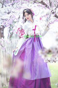 Hanbok 23 Áo Trắng Váy Tím 2 Lớp